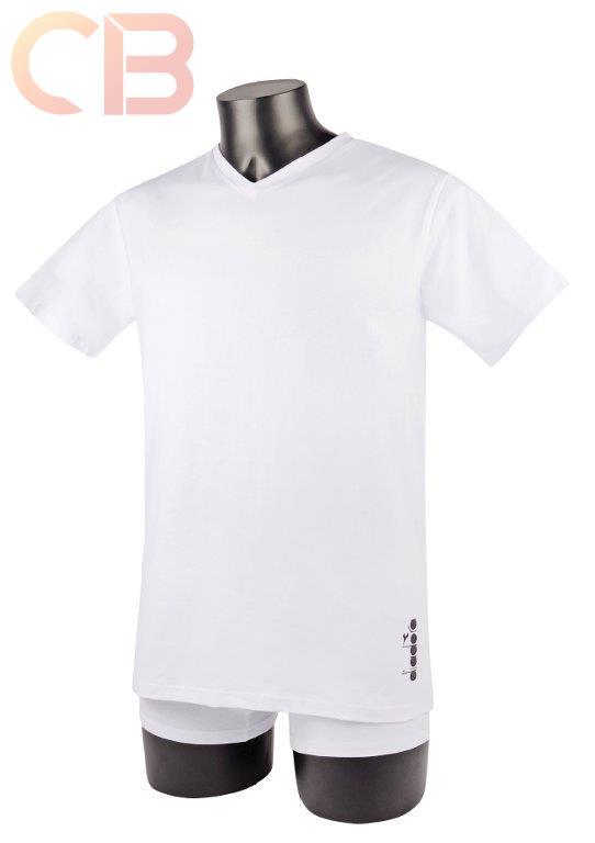 T-Shirt manica corta scollo V DIADORA cotone jersey NERO